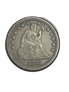 1876 Seated Liberty Quarter <> XF Details