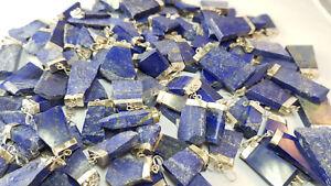 Lapis Lazuli Anhänger flach- Silber - Edelstein aus Afghanistan - Handgefertigt