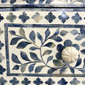 Handmade Bone Inlay Blue Floral Console Table