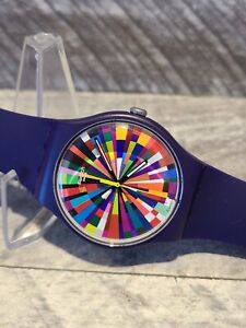 Swatch SR1130SW 2013 RARE Multicolor Geometric Swatch Watch New Battery