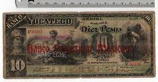 Banco Yucateco CAMPECHE Peninsular Mexicano de 1890's 10 Pesos Mexican Banknote