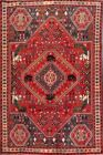 Vintage Traditional Tribal Abadeh Geometric Area Rug Hand-Knotted 6'x9' Carpet