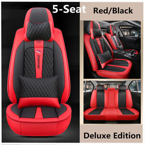 Full Set Red Black Deluxe PU Leather Car Seat Covers Protector Mat + Pillows