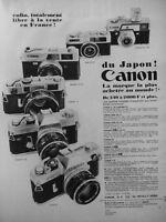 PUBLICITÉ DE PRESSE 1968 MODÈLES APPAREILS PHOTO CANON C 30 CANOMATIC