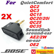 2X 3.5MM BOSE Headphones Airline Adapter for QC2 QC3 QC15 QC20 QC25 QC35 AE2 OE2