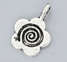 100 Gift Silver Tone Flower Glue on Bail 15x11mm