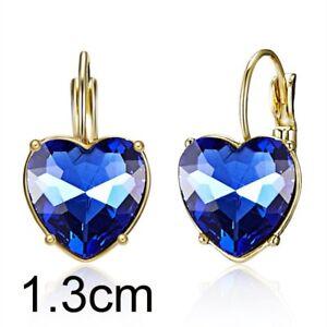 Fashion Women Zircon Heart Round Crystal Ear Stud Hoop Drop Earrings Jewelry New