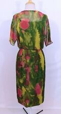 Vintage 1960s 60s Watercolor Garden Flowers Sheer Silk Chiffon Party Dress M
