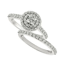 1.25 Carat Natural Diamond Engagement Ring Set G SI 14K White Gold