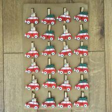 Christmas Red Cars Wooden Advent Pegs 1 - 24 DIY Advent Calendar Peg Set 5 x 5cm