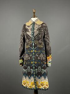 Ladies IVKO Multicolour Jacquard Wool Buttom Up Coat Jacket Size 38