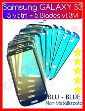 5 Vetri Vetro BLU+5 ADESIVI 3M GLASS BLUE per SAMSUNG GALAXY S3 I9300 I9301I Neo