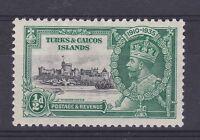 DB389) Turks & Caicos Islands 1935 Jubilee halfpenny black & green SG 187