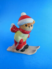 Vintage Lucy & Me Bear on Snow Skis Porcelain Christmas Figurine 3""