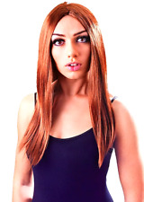 "18"" Long Brown Wig SAME D.Wizard Princess Pop Star Ladies Halloween Fancy Dress"