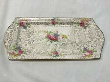 Vintage H & K Tunstall Fancy Dresser Tray with Flowers and Gold Trim - England