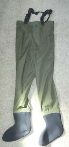 ORVIS Men's Stocking Foot Chest Waders Polyester/Nylon size SMALL - Green