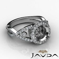 Diamond Engagement Semi Mount Ring 14k White Gold Round Cut Halo Pave Set 1.4Ct