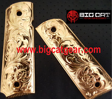 FOR COLT 1911 COMPACT/OFFICER SIZE CUSTOM GRIPS - SCROLL PATTERN W GOLD PLATED