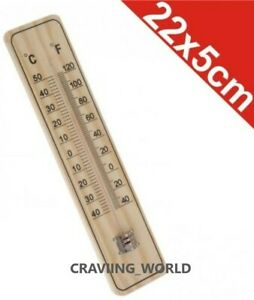 Traditional Wooden Garden Thermometer Wall Mounting With C & F Reading GSTH02