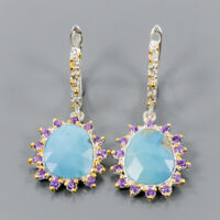 Turquoise Earrings Silver 925 Sterling Fashion Jewelry Design  /E44246