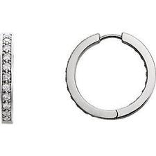 diamante interno / FUORI Orecchini a cerchio in 14k oro bianco (1.00 ct. TW