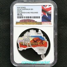 2016 Australia Map Shaped Series Dingo 1oz Silver Coin NGC MS70 Perth Mint OGP!!