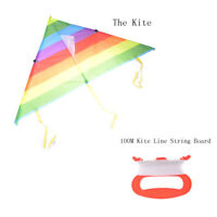 Rainbow Triangle Nylon Outdoor Sports Flying Kite Kite Line String Board Toy Bw