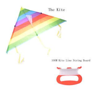 Rainbow Triangle Nylon Outdoor Sports Flying Kite Kite Line String Board Toy)