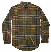 Polo Ralph Lauren Mens Hunting Plaid Dress Shirt Brown Beige Green Red Medium
