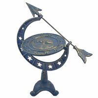 Sundial Decorative Celestial Moon & Stars Blue Gold Cast Iron Yard Decor 16.75""