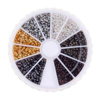 3000pcs 6colors/box 2mm Brass Round Crimp End Beads for Jewelry Accessories #3YE