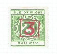 Isle of Wight Railway 1920 3d on 2d green Railway Letter stamp mint