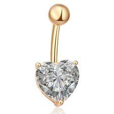UK Heart Belly Button Bar Stainless Steel Bars Navel Piercing Dangle Drop