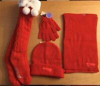 NWT Victoria Secret~PINK~ Red Winter Hat Gloves Scarf & Stocking Set