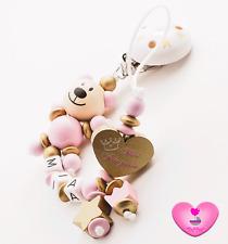 Schnullerkette mit Namen★ Mini Prnzessin ★ Teddy ★ Baby Mädchen ♥ gold rosa