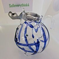 Cat ornament glass hand blow made blue stripes Christmas