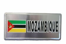 MOZAMBIQUE  COUNTRY FLAG-SILVER LICENSED STICKER FLAG PLATE..SIZE: 6 X 3 INCH