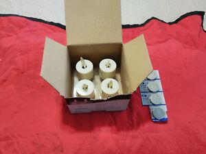 "NIB Set 4 Luminara Real Flame Effect Ivory LED Tea Light Candles 1.44""X1.25"" NEW"