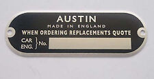 Mini  Mk1 1959 61  Chassis  Plate  Austin Seven Early BMC