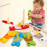8Pcs/set Wooden Montessori Educational Colorful Fishing Digital Column Kids Toy