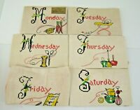 Dish Towels Vintage 6 Days Of The Week Hand Painted