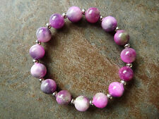Purple, Pink & Green Quartz Bead Beaded Bracelet - Genuine Gemstone - Handmade