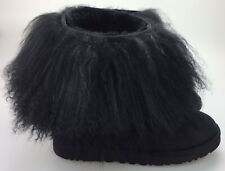 Ugg Australia Sheepskin Mongolian Short Cuff Boots Women's 9 40 Furry Black 1875