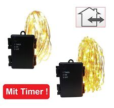 Timer LED Micro Drahtlichterkette Lichterketter Innen & Außen 20 - 100 Batterie