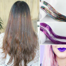 """100 Strands Holographic Sparkle Hair Tinsel Glitter Extensions Dazzles 39"""" Long"""