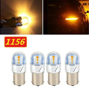 4x 1156 Yellow Amber LED Backup Reverse Light Turn Signal Lights Lamp 3000K Bulb