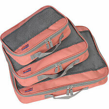 American Flyer Packing Cube 3pc Set 4 Colors Travel Organizer Coral