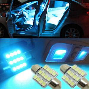 2pcs Ice Blue 12SMD LED Car Interior Dome Map Door Reading Light Bulbs DC12V