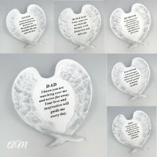 White & Silver Angel Wings Plaque, Grave Stone Decoration Tribute Memorial Verse